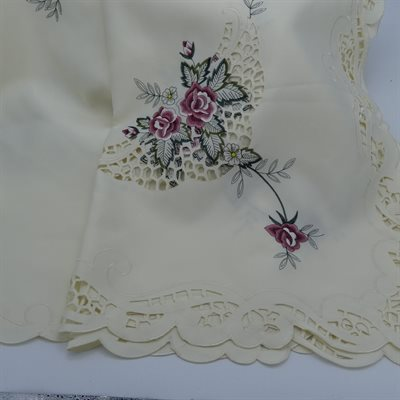 "TABLECLOTH 67X90"" IVORY WITH PINK ROSES"