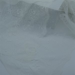 "TABLECLOTH 60"" X 126"" WHITE LACE VINTAGE"